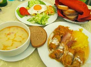 Traditional Romanian Meal  (Tripe Soup, Egg Salad, & Stuffed Cabbage) - Brasov, Romania