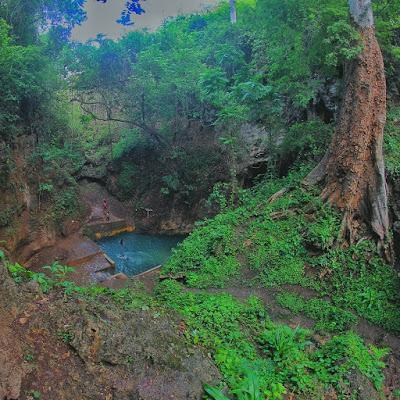 Terlihat dari kejauhan Blue Lagoon Ngreneng di Gunungkidul.