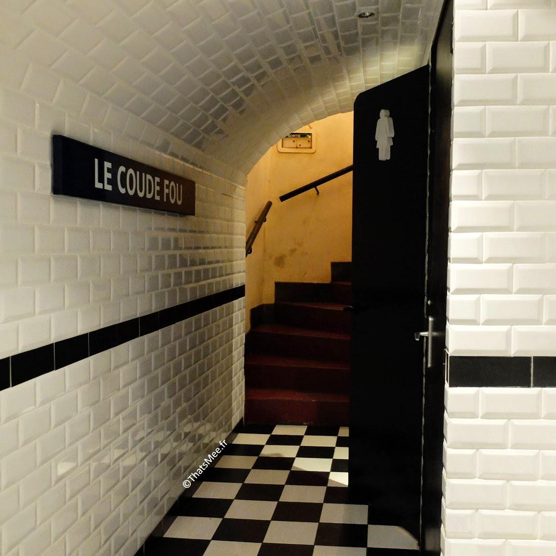 Resto bistro troquet Le Coude Fou Paris Marais, déco métro WC, cuisine traditionnelle française Coude Fou