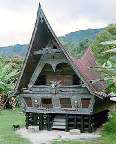 label stiker rumah adat di indonesia