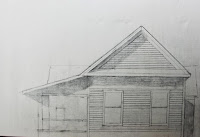 """old white house small painting"" original sketch, work in progress, by Carroll Jones III"