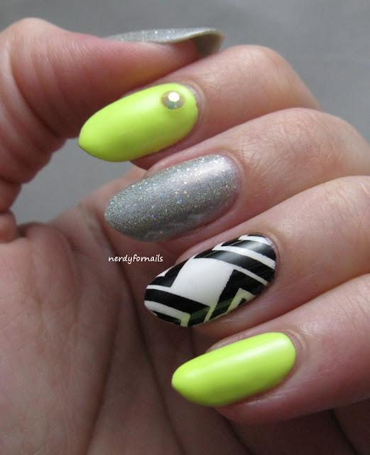 Orly Key Lime Twist Skittlette with Stamping and Mirror Ball