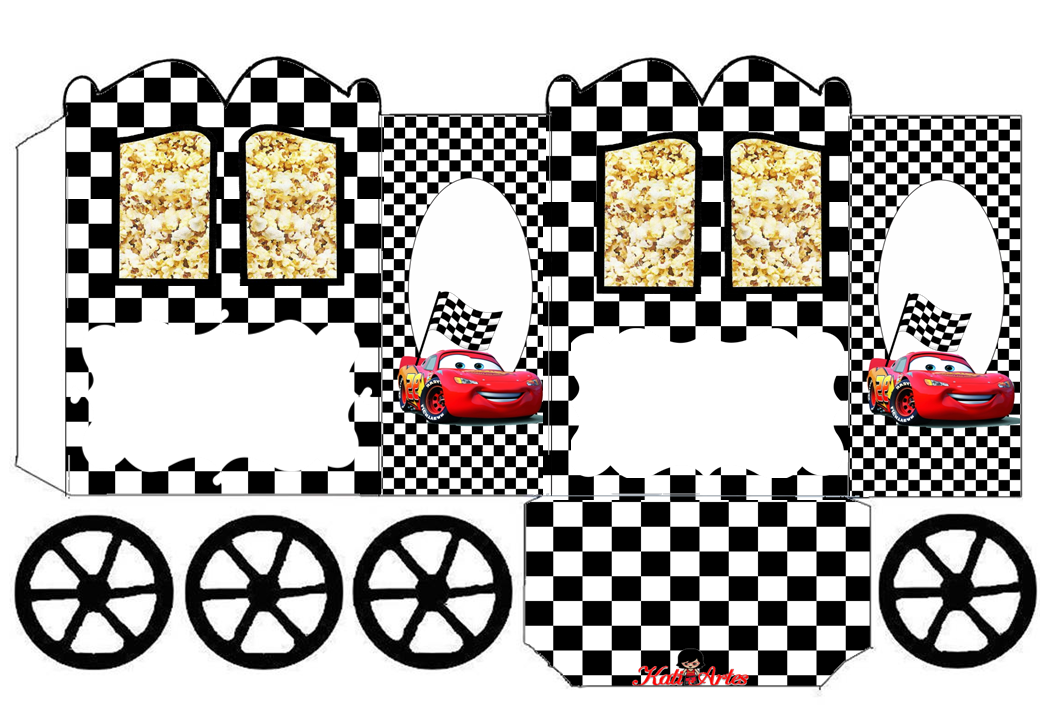 Cars: Caja con forma de Carruaje para Imprimir Gratis.