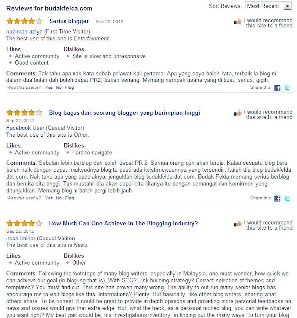 Cara review laman website untuk Alexa bersama budak felda