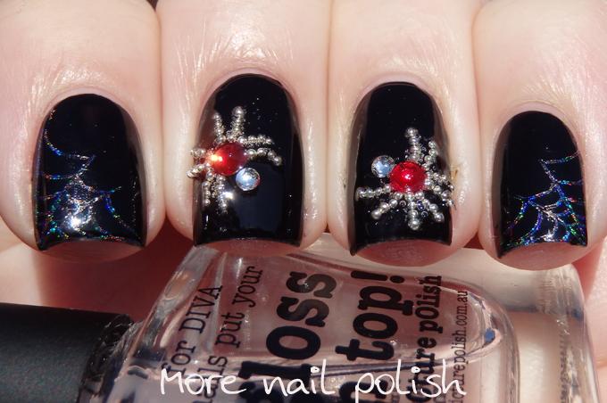 Crystal spiders nail art ~ More Nail Polish