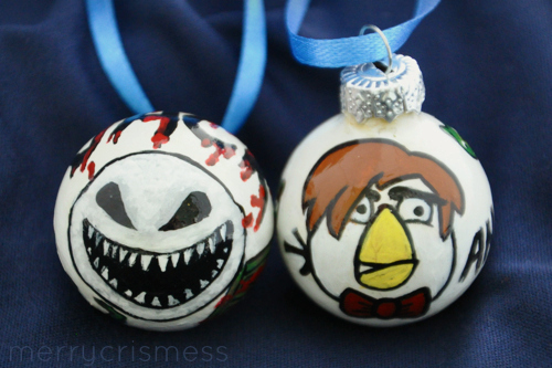 Handpainted Who Ornaments: Snowman & Angry Bird Doctor