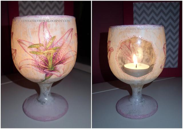 decoupage'owy świecznik z kieliszka