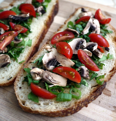 open-faced tomato mushroom and herb sandwiches