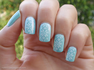Minty Sweater Nails: Models Own Indian Ocean over Essie Mint Candy Apple stamped with Nailz Craze NC03 stamping plate