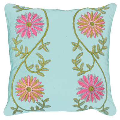 Pine Cone Hill Edelweiss Crewel Aqua Decorative Pillow Everything Fascinating Pine Cone Decorative Pillows