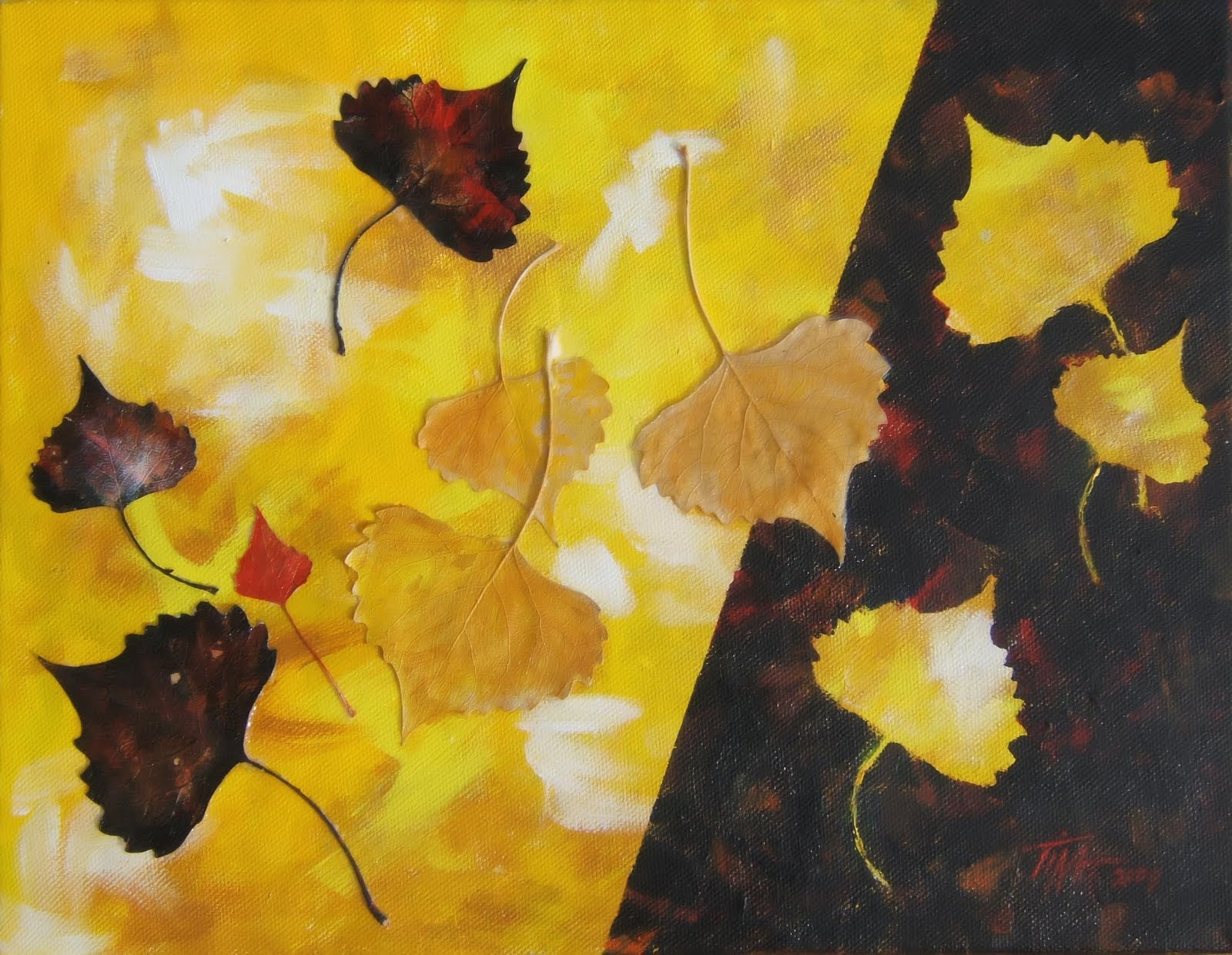 "11""x 14"" yellow and black acrylic painting using Popular tree leaves on the painting, ©2009 Tina M Welter."