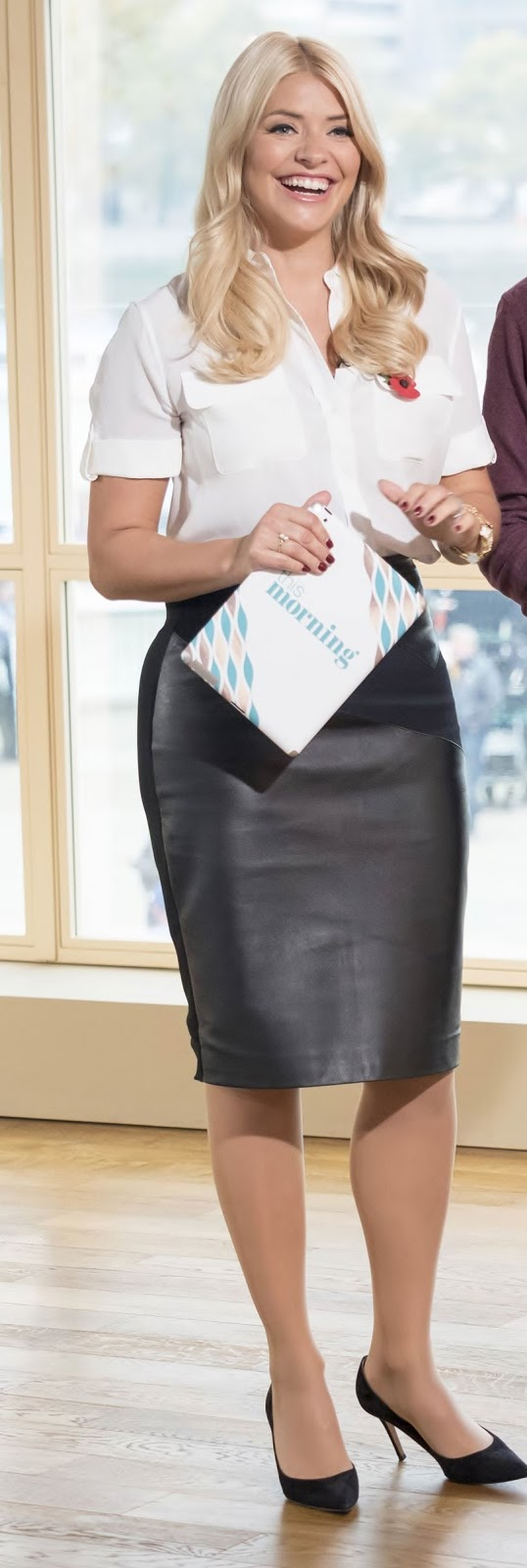 Holly Halston Latex inside lovely ladies in leather: holly willoughby in a leather pencil skirt