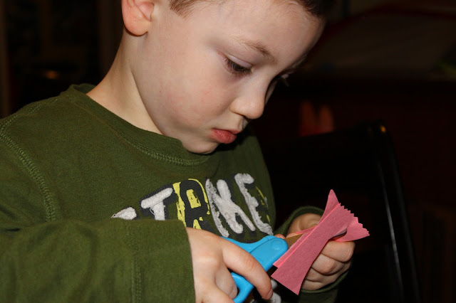 Grandboy making crafts
