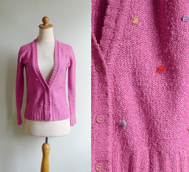 retro pink cardigan with muti colored tufts