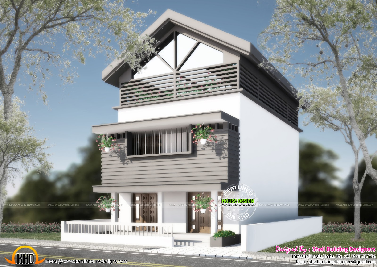 2400 sq ft 3 floor home plan kerala home design and for 3 floor house design