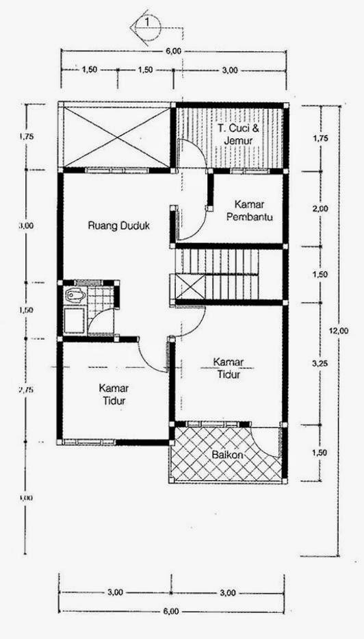 Gambar Rumah 2 Lantai Luas Tanah 72 M2 - Lantai2