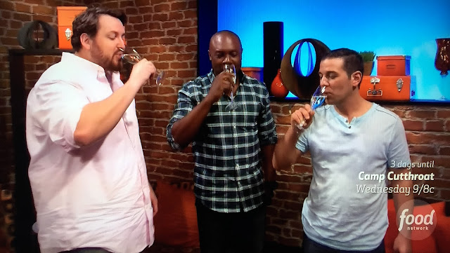 Jay, Eddie and Dom drink some sparkling wine to celebrate being the top 3  and would get to film pilots on Food Network Star!