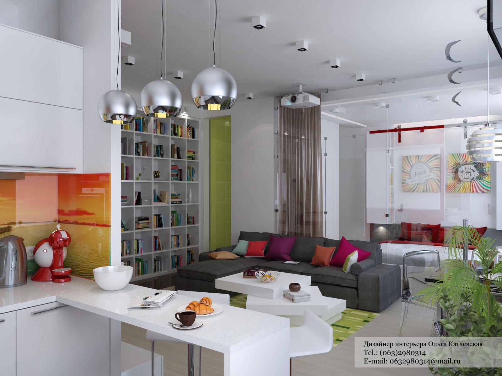 Дизайн студии 30 кв.м кухня-гостиная с одним