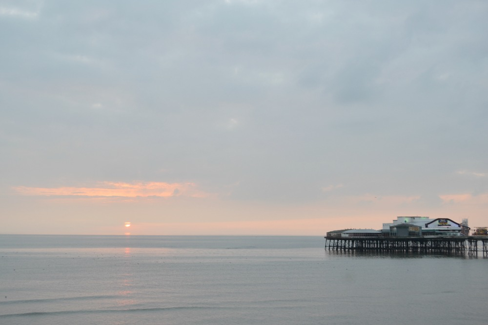 blackpool north pier sunset summer