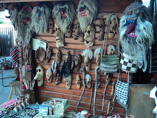 Souvenir-carved wooden masks