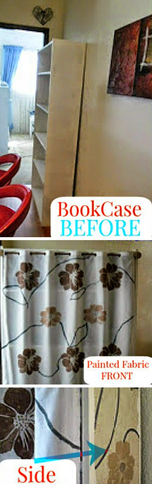 Wallpaper-Fabric Painted Craft Storage ~ How to turn a bookcase into a Craft Storage with matching sides and front {painting fabric using wallpaper} #FabricPainting #CraftStorage