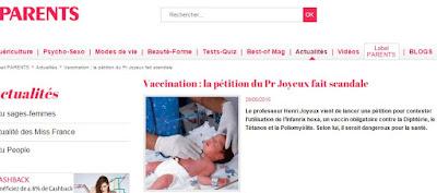 La pétition du professeur Joyeux contre la vaccination forcée fait grincer des dents les médias et la ministre de la santé Capture3
