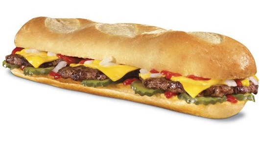 Hardees, Carls Jr., footlong hamburger sandwich