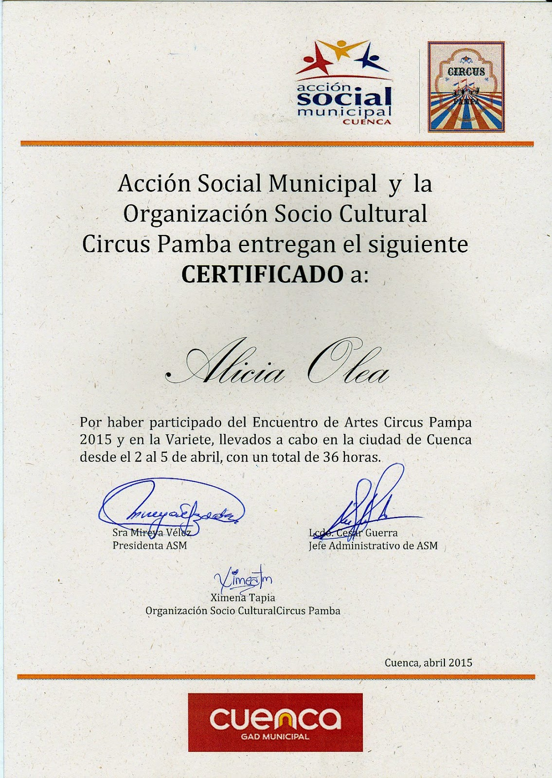 certificado de participaci n