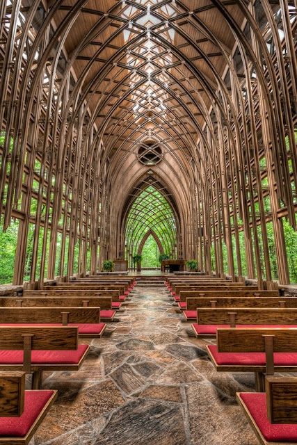 A glass chapel in the woods! This is breath-taking. Awesome place to get married.