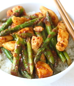 korean chicken stir fry with asparagus recipe