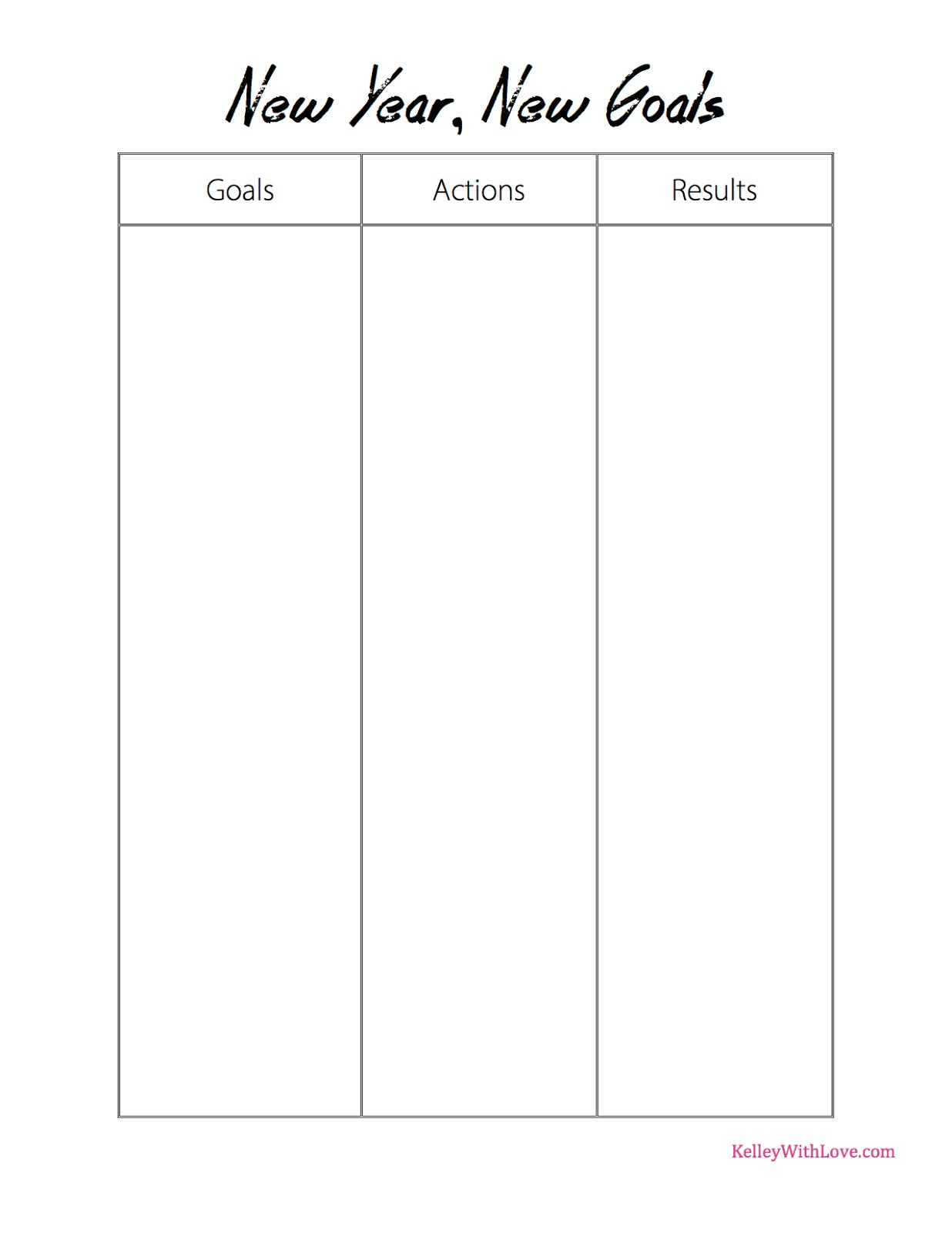 Kelley With Love New Years Goals Printable Worksheets – Goals Worksheet