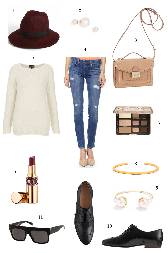 fall outfit idea, double pearl earrings, loeffler randall bag, wing tip oxfords