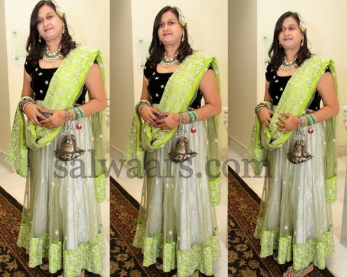 Anarkali Salwar with Velvet yoke