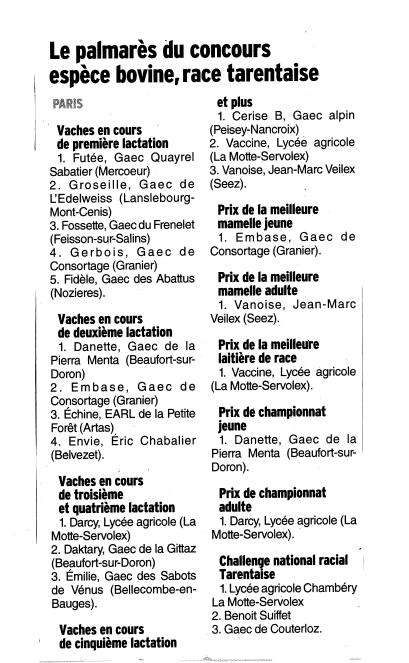 Les derni res infos de haute tarentaise par pierre villeneuve salon de l agriculture paris 2014 - Palmares salon de l agriculture ...