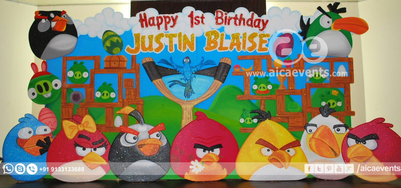 Aicaevents india angry bird theme decors for birthday parties for Angry bird decoration ideas