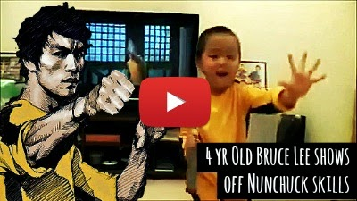 Watch this little 4 year old Kungfu fighter show his insane speed, reflexes and hand control with Nunchucks as he imitates the same watching Legendary Martial artist Bruce Lee's skills with Nunchucks via geniushowto.blogspot.com martial art videos