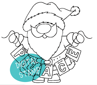 Santa Peace Digital Stamp