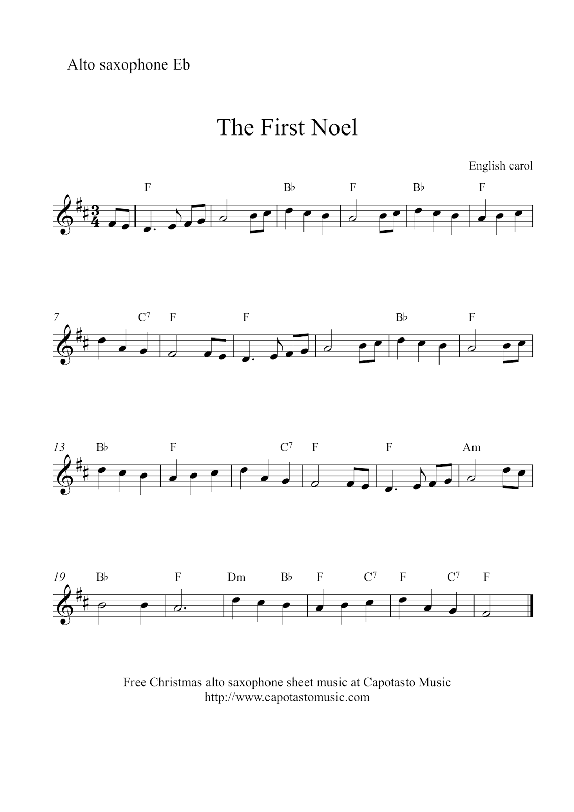 Free Christmas alto saxophone sheet music - The First Noel