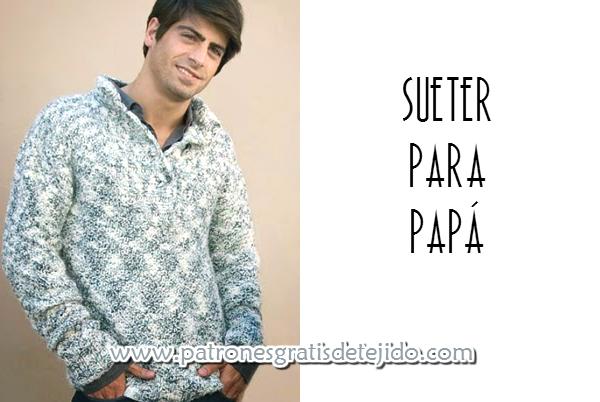 Suéter tejido con dos agujas con cuello cruzado o cuelo smoking