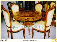 Kursi dan Meja Makan Ukiran Kayu Jati Perancis Mahkota