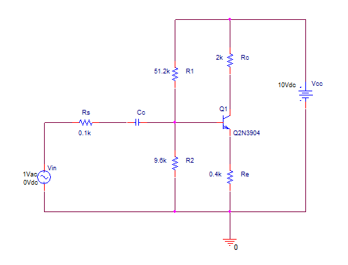 Biased BJT amplifier