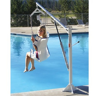 girl using Aqua Creek EZ Manual Pool Lift with sling