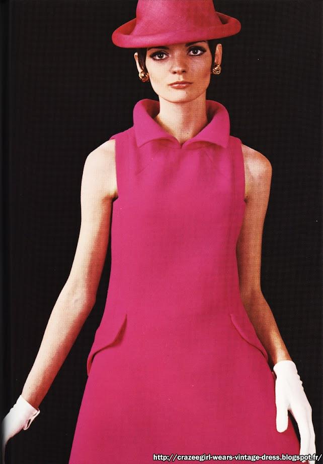 1967 pink dress 60s Pierre Cardin 1960