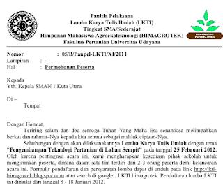 Bagian Dan Contoh Surat Permohonan Berdasarkan Tatanan Baku