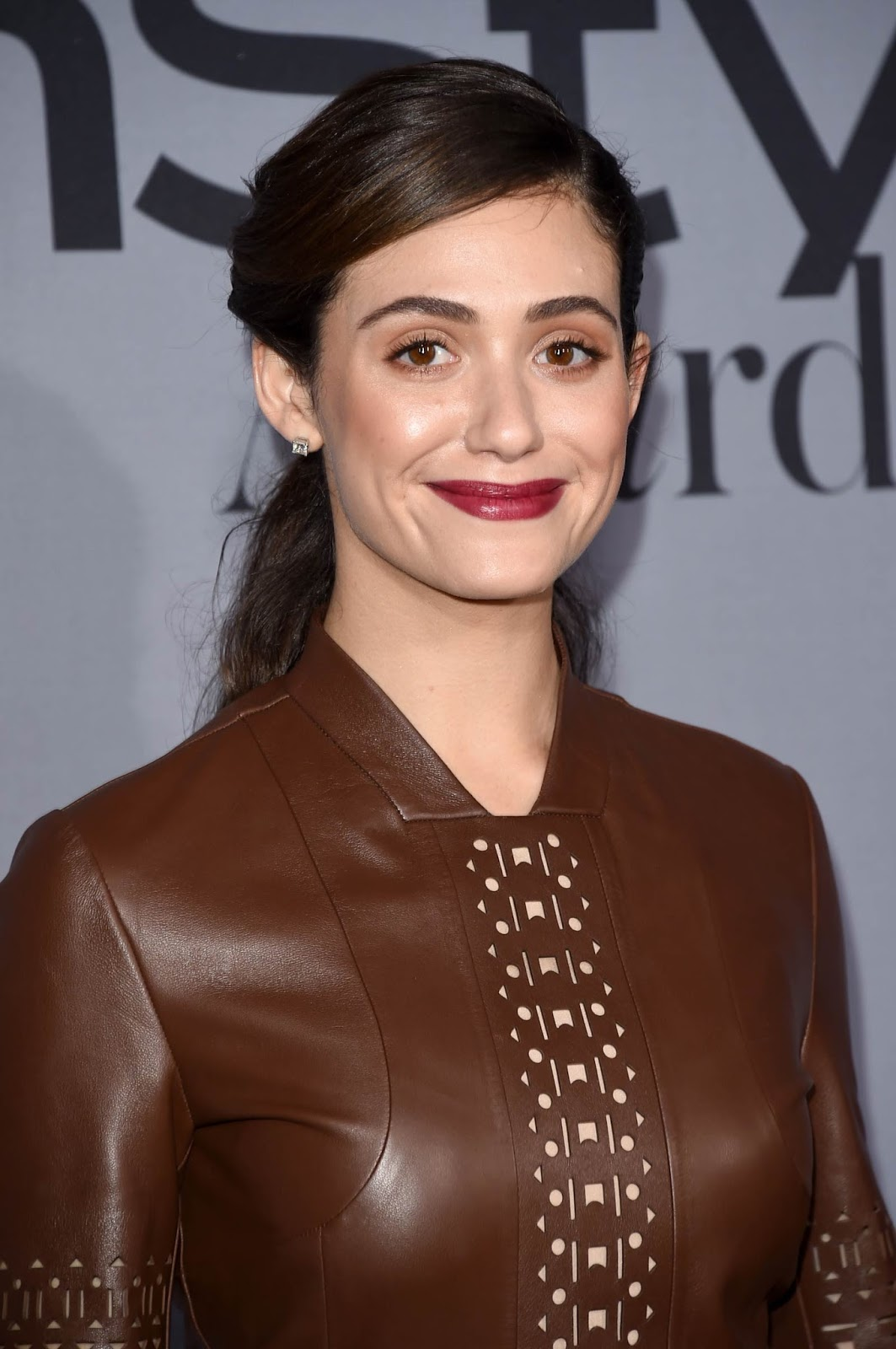 Lovely Ladies in Leather: Emmy Rossum in a leather dress Emmy Rossum
