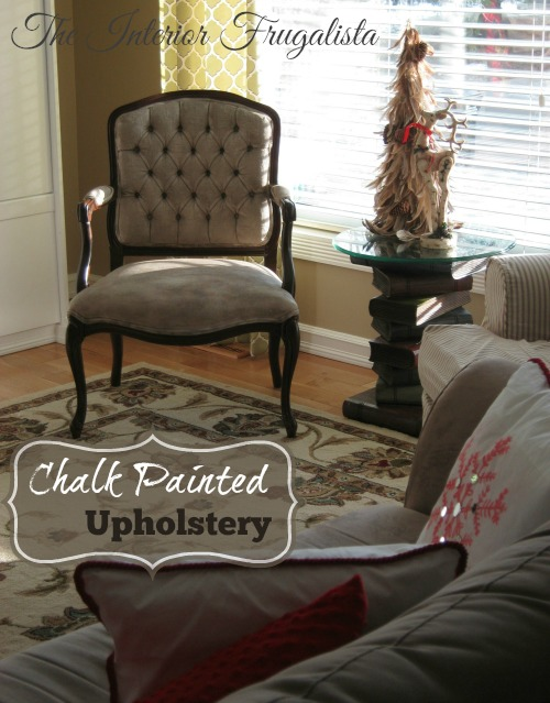 French Provincial Arm Chair Fabric Painted with Chalk Paint