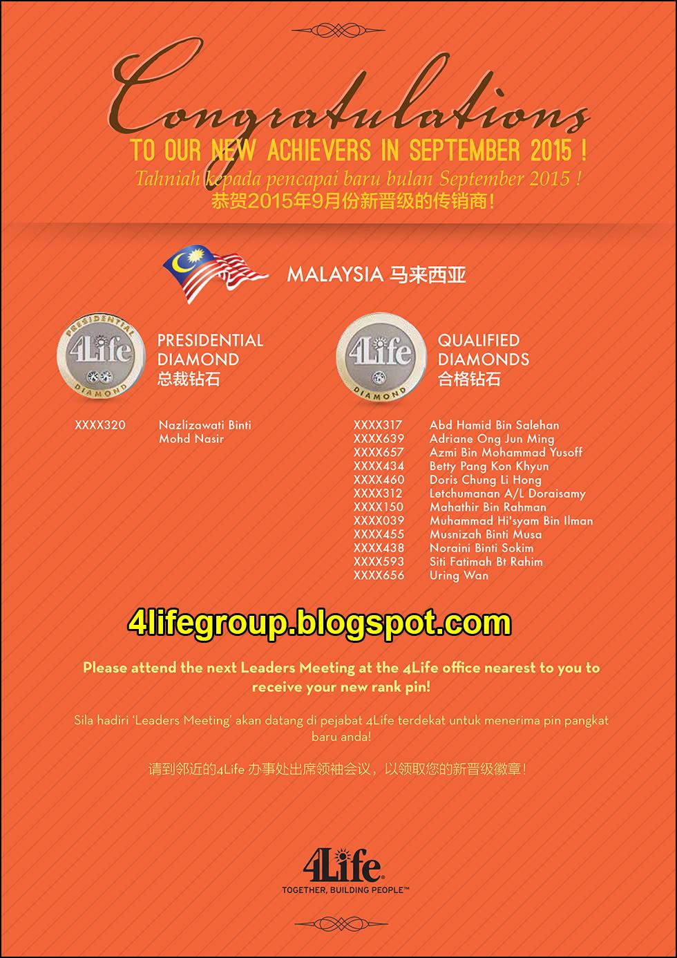 foto Pencapai Pangkat Baru September 2015 4Life Malaysia