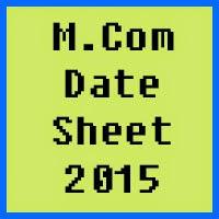 BZU Multan MCom Date Sheet 2016 Part 1 and Part 2
