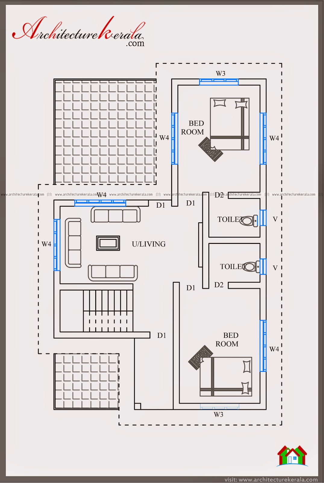 2000 sf house plan and elevation architecture kerala for House plan kerala 4 bedroom