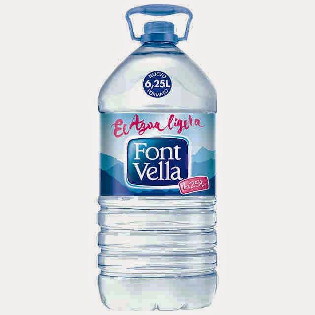 Botella de agua mineral de 6,25 litros de Font Vella